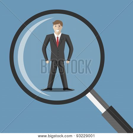 Man Under Magnifier