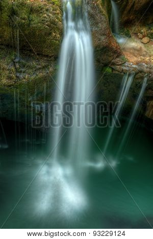 Small Waterfall In River Soca Gorges In Slovenian Alps Central Europe