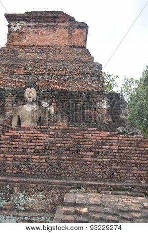 Huge Buddha statue Sukhothai Historical Park in Thailand