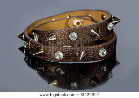 leather bracelet with crystals