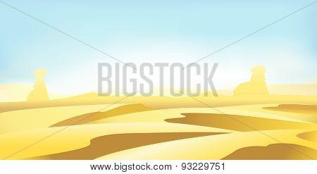 Desert Landscape Vector Art Illustration Background Of Dunes
