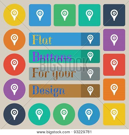 Map Pointer, Gps Location  Icon Sign. Set Of Twenty Colored Flat, Round, Square And Rectangular Butt