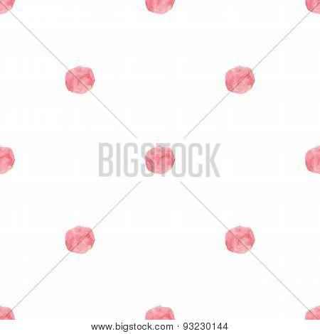 Watercolor handdrawn pink rose polka dot vector seamless pattern