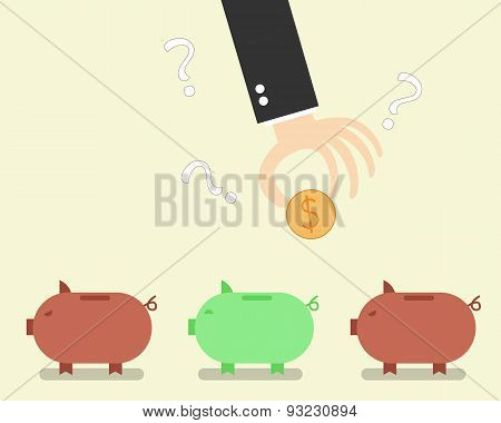 Risk when selecting an unreliable bank. Vector illustration