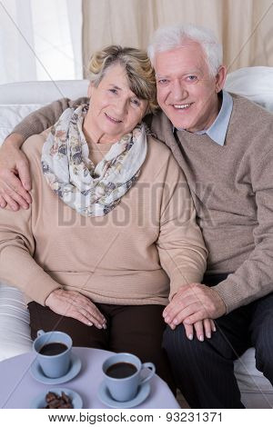 Senior Man Hugging Wife