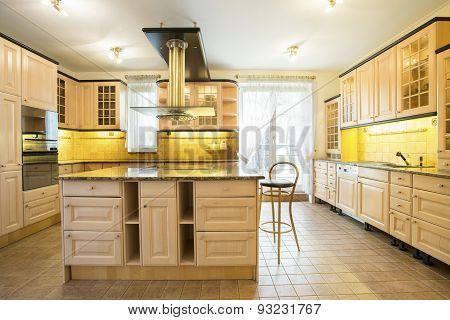 Wooden Cupboards In Luxury Kitchen