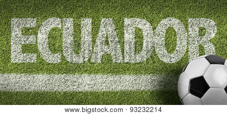 Soccer field with the text: Ecuador