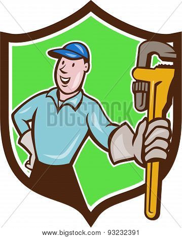 Plumber Presenting Monkey Wrench Shield Cartoon
