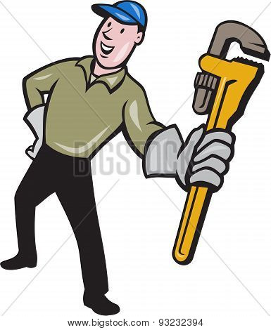Plumber Presenting Monkey Wrench Isolated Cartoon
