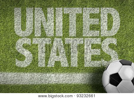 Soccer field with the text: United States