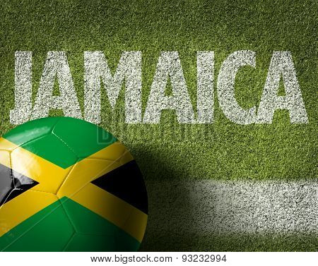 Soccer field with the text: Jamaica