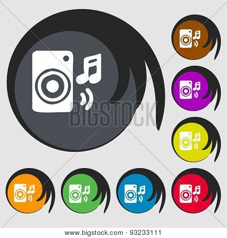 Music Column, Disco, Music, Melody, Speaker Icon Sign. Symbol On Eight Colored Buttons. Vector