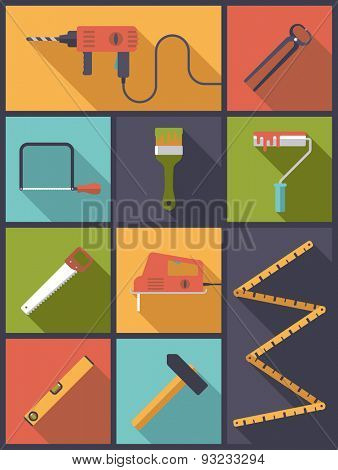 Home improvement tools Flat Icons Vector Illustration. Vertical flat design illustration with various icons related to DIY