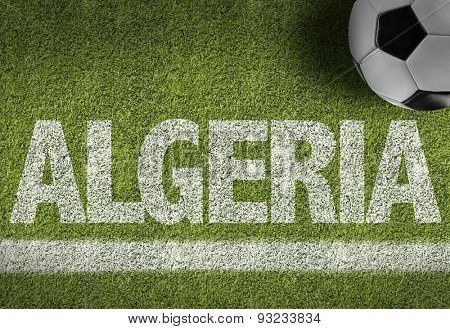 Soccer field with the text: Algeria