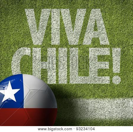 Soccer field and Chilean Ball with the text: Viva Chile