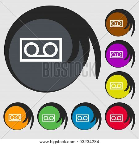 Audio Cassette Icon Sign. Symbol On Eight Colored Buttons. Vector