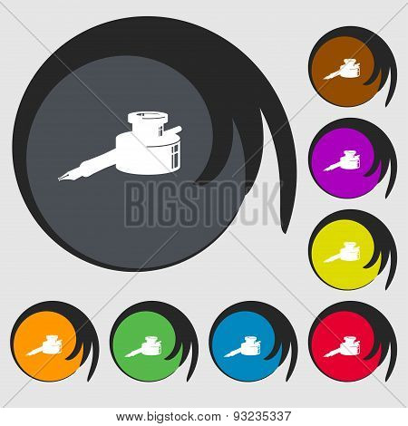 Pen And Ink Icon Sign. Symbol On Eight Colored Buttons. Vector