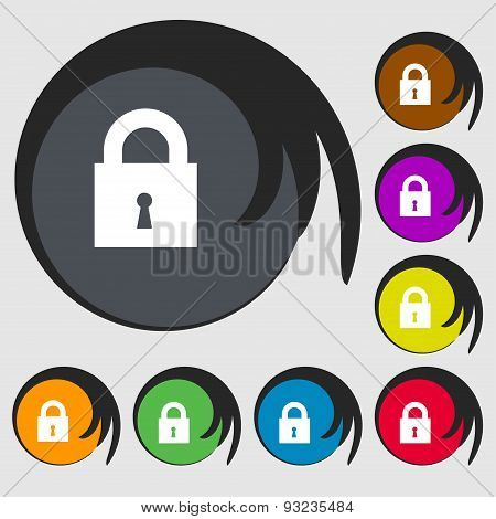 Closed Lock Icon Sign. Symbol On Eight Colored Buttons. Vector