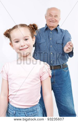 Grandfather spending time with granddaughter