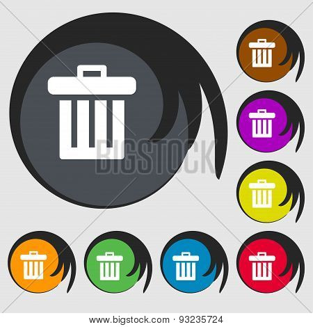 Recycle Bin Icon Sign. Symbol On Eight Colored Buttons. Vector