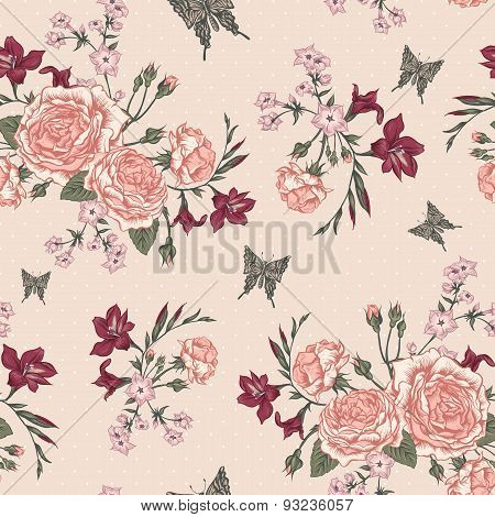 Beautiful Seamless Background with Victorian Roses in Vintage Style