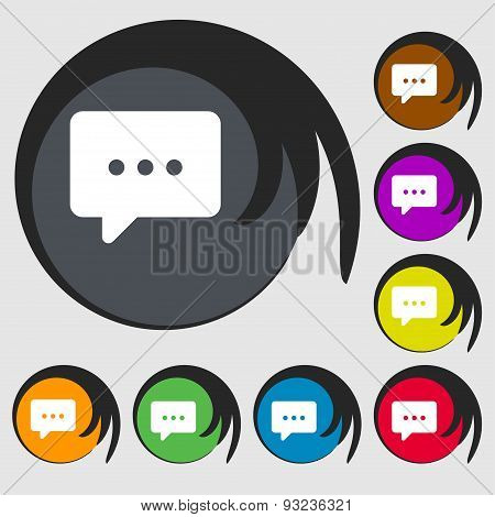 Cloud Of Thoughts Icon Sign. Symbol On Eight Colored Buttons. Vector