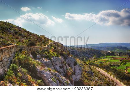 Scenic Mountainview Of The Island Of Malta