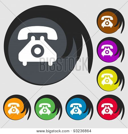 Retro Telephone Handset  Icon Sign. Symbol On Eight Colored Buttons. Vector