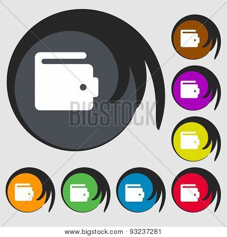 Purse Icon Sign. Symbol On Eight Colored Buttons. Vector