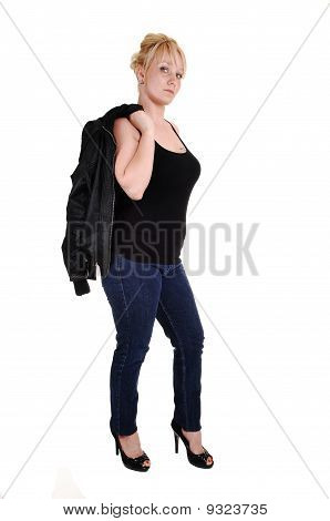 Blond Girl In Jeans.