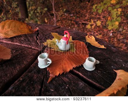 Crafts from clay teapot and cup