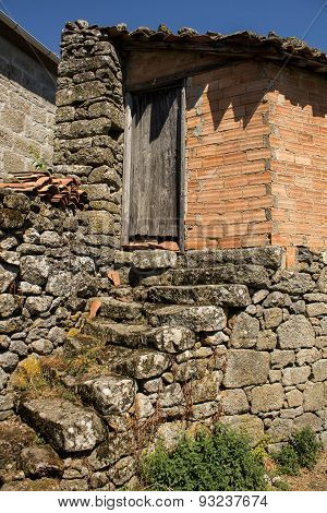 Old house of stone and brick in Galicia, Spain.