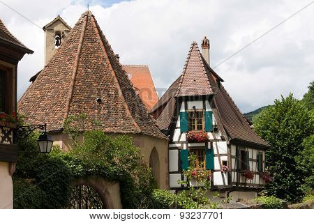 Roofs of houses in Kaysersberg, Alsace, France