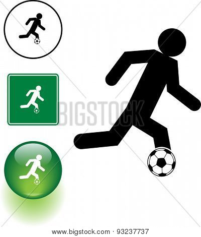 soccer player symbol sign and button