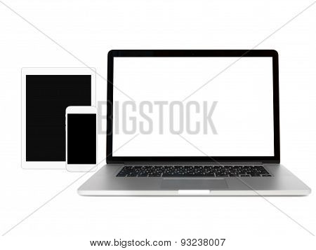 Gadgets Isolated On White With Copy Space