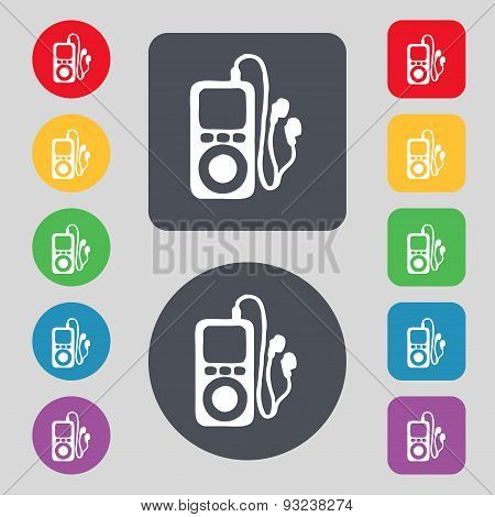 Mp3 Player, Headphones, Music Icon Sign. A Set Of 12 Colored Buttons. Flat Design. Vector