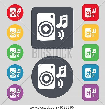 Music Column, Disco, Music, Melody, Speaker Icon Sign. A Set Of 12 Colored Buttons. Flat Design. Vec