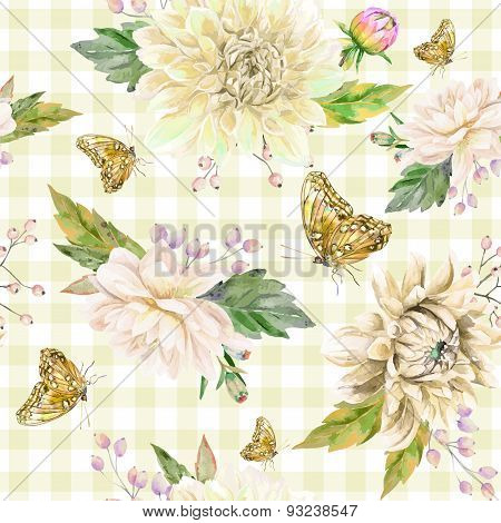 Vector Seamless Pattern With White Dahlia.
