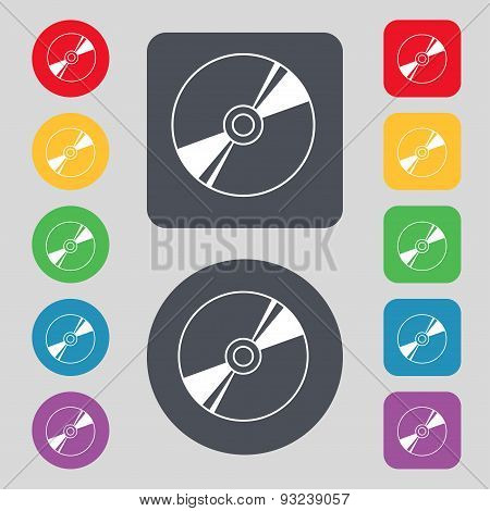 Cd, Dvd, Compact Disk, Blue Ray Icon Sign. A Set Of 12 Colored Buttons. Flat Design. Vector