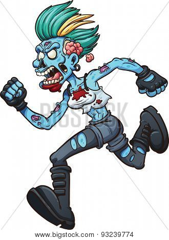 Punk zombie girl running. Vector clip art illustration with simple gradients. All in a single layer.