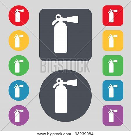 Fire Extinguisher Icon Sign. A Set Of 12 Colored Buttons. Flat Design. Vector