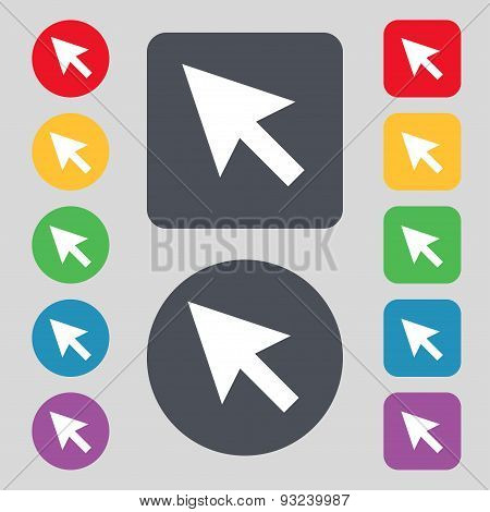 Arrow Cursor, Computer Mouse Icon Sign. A Set Of 12 Colored Buttons. Flat Design. Vector