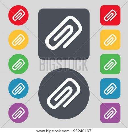 Clip To Paper Icon Sign. A Set Of 12 Colored Buttons. Flat Design. Vector