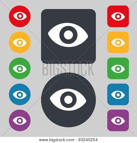 Sixth Sense, The Eye Icon Sign. A Set Of 12 Colored Buttons. Flat Design. Vector