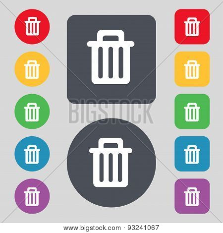 Recycle Bin Icon Sign. A Set Of 12 Colored Buttons. Flat Design. Vector
