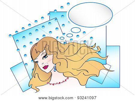 Pop art illustration of nice girl