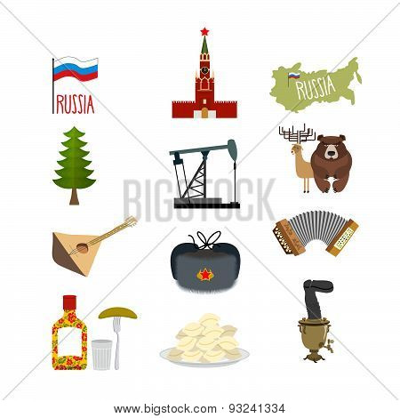 Set of symbols and icons for Russia: the Kremlin and balalaika, oil rig and vodka, with earflaps and