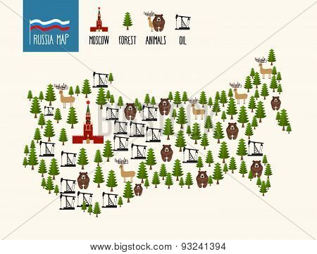 Russia Map. Infographic of the Russian Federation. Minerals oil and forests. The Moscow Kremlin and