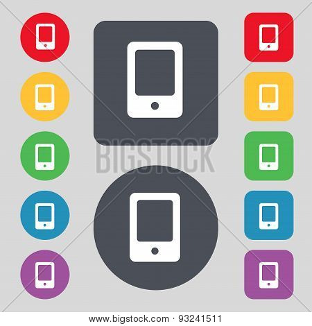 Tablet Icon Sign. A Set Of 12 Colored Buttons. Flat Design. Vector