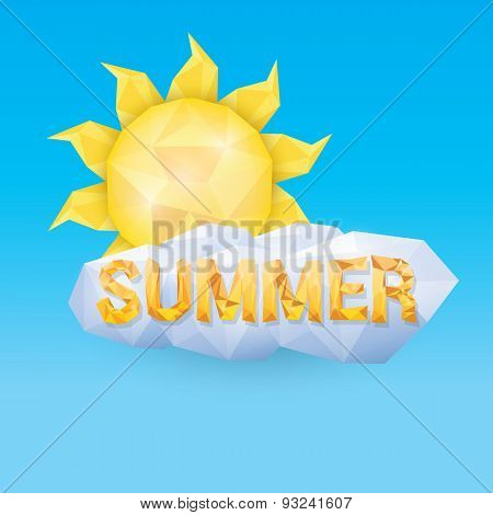 vector summer label. summer icon with sun.
